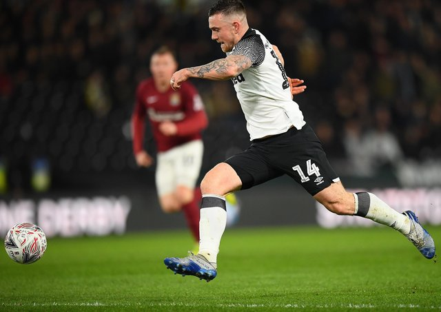 Jack Marriott in action for Derby County.