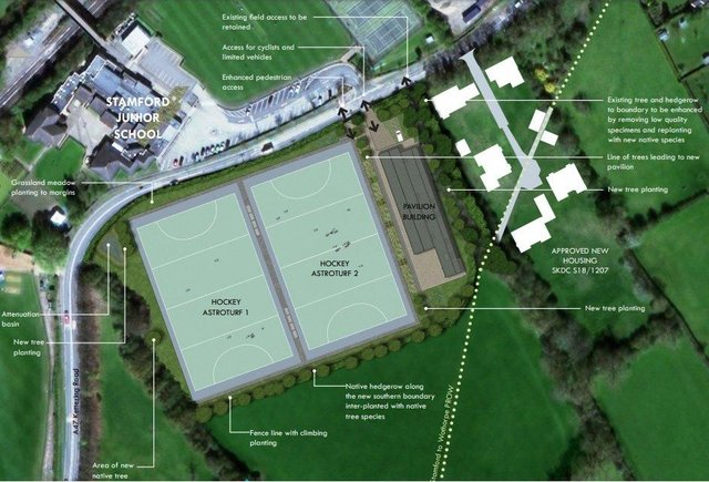 Plans for a new sports centre and pitches at Stamford High School