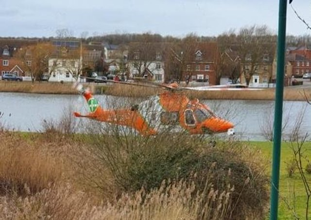 The Air Ambulance landed in Braymere Road, last week (February 23).