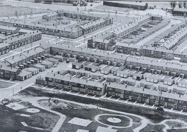 This  is an aerial shot  of the Westwood estate probably taken in the late 60s or early70s. The estate became home to  many of the first incomers to  Peterborough even before the new town expansion. A survey of newcomers by the  Peterborough  Advertiser found the best things about the city were the cathedral, the Lido and boats on the river.  The worst were  the  amenities, entertainment and public transport.