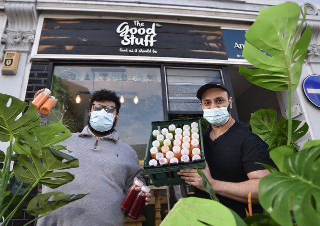 Umesh Narshi and Ashish Sarman at The Good Stuff, Cowgate. They are supplying NHS staff with special drinks. EMN-210223-104426009