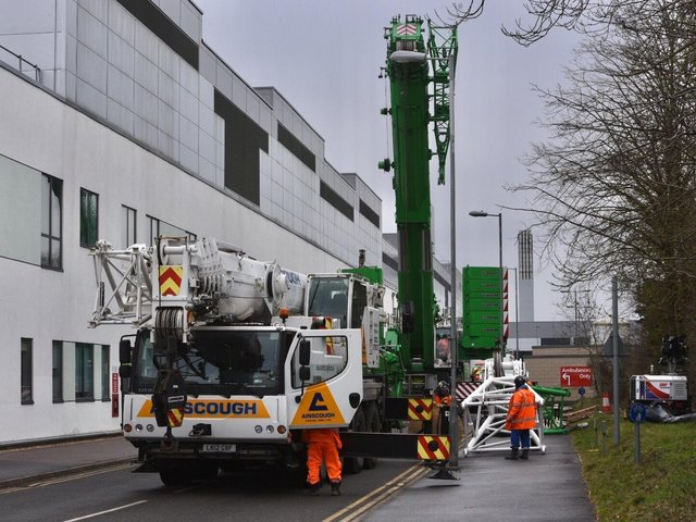 The crane in place today
