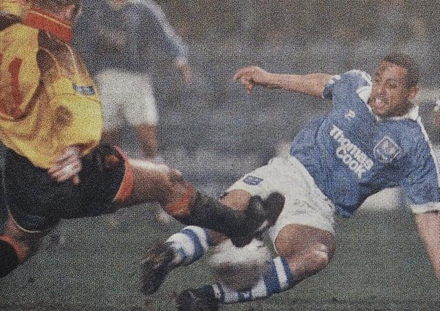 Ken Charlery scores against Watford in 1997.