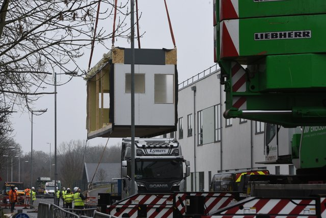 Peterborough City Hospital A & E improvements work about to start with the lifting of 6 pods. EMN-210103-155411009