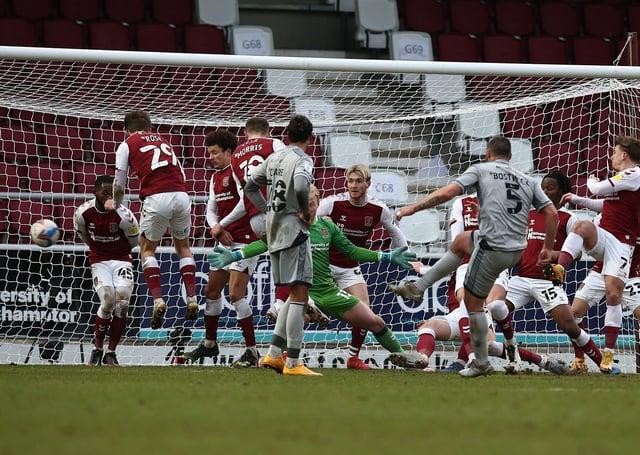 Former Posh star Michael Bostwick (5) scores for Burton at Northampton earlier this season. Pete Norton Getty Images.