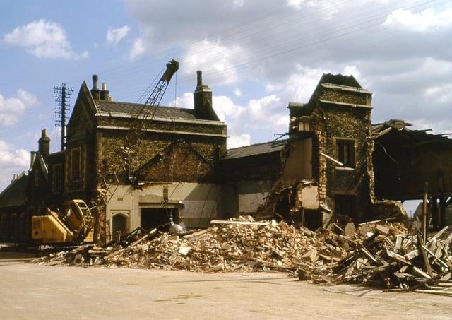The demolition of Peterborough East railway station underway.