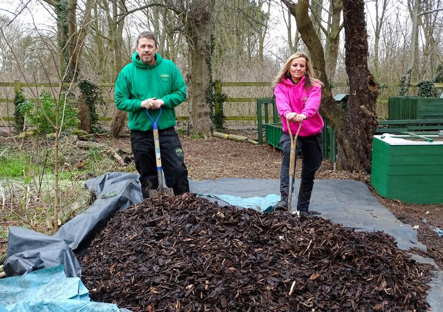 The founders of Up The Garden Bath with donated woodchip from Nene Park Trust. EMN-210503-150933001
