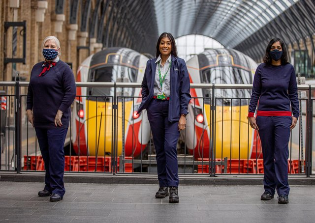 LNER drivers (from left) Trudi Kinchella (Newcastle, who has been driving for nearly 28 years), Apprentice Driver Vandana Mungur (Peterborough, training in York) and Driver Mena Sutharsan (London). Photo: LNER/Charlotte Graham. EMN-210503-124023001
