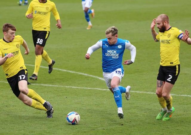 Sammie Szmodics of Peterborough United takes on John Brayford and Hayden Carter of Burton Albion. Photo: Joe Dent/theposh.com.