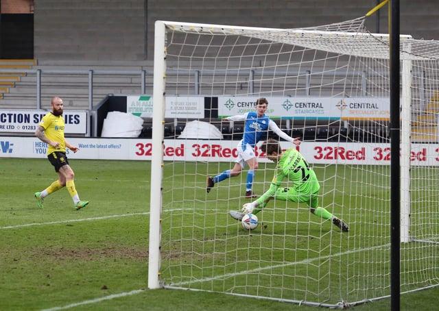 Harrison Burrows scores his first senior goal for Posh at Burton. Photo: Joe Dent/theposh.com.