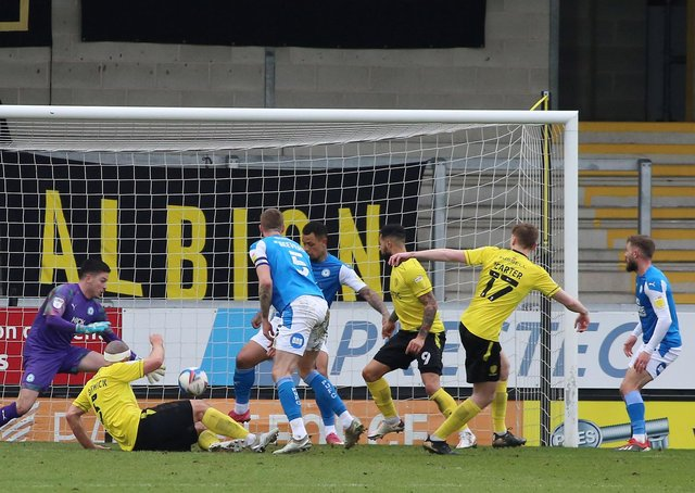 Hayden Carter (17) of Burton Albion scores his sides second goal of the game against Peterborough United. Photo: Joe Dent/theposh.com.