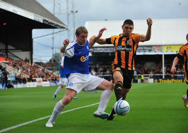 Grant McCann in action for Posh against Hull in 2011.