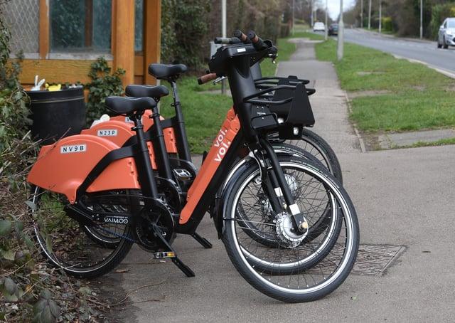 E-bikes at  Oundle Road near the  Gordon Arms. EMN-210503-170924009