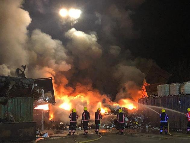 Crews tackle the blaze. Pic and video: Cambs Fire and Rescue Service