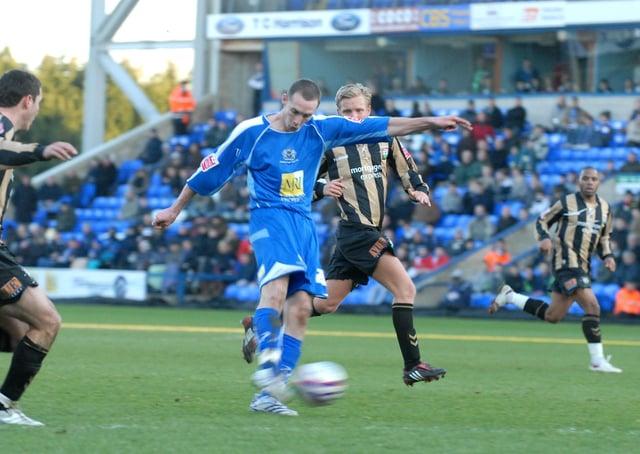 Liam Hatch scores for Posh against Barnet on 2008.