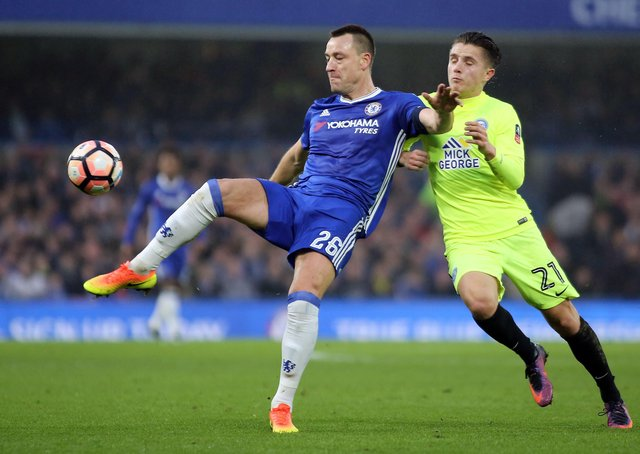 John Terry in action for Chelsea against Posh in a 2017 FA Cup tie at London Road.