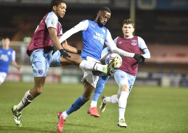 Mo Eisa in action for Posh earlier this season.