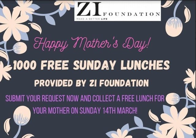 The Zi Foundation will be giving out 1000 free meals this Mother's Day.
