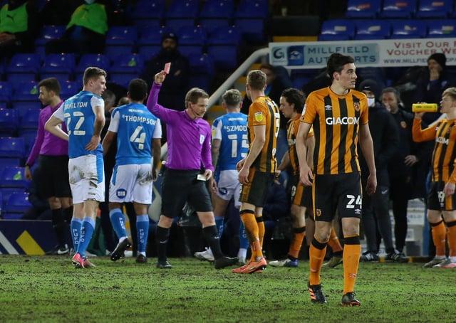 Ethan Hamilton of Peterborough United is sent off against Hull City. Photo: Joe Dent/theposh.com.