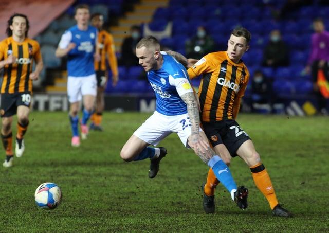 Joe Ward of Peterborough United in action with Gavin Whyte of Hull City. Photo: Joe Dent/theposh.com.