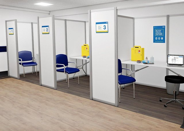 XL Display's Covid-19 Vaccination Booths - freestanding, medical screen pods for NHS Hospitals, clinics, vaccination centres, surgeries, schools and Armed Forces.