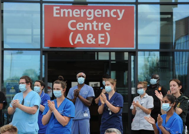 Emergency service and NHS staff clap to celebrate 72nd anniversary of the NHS at Peterborough City Hospital. (Archive image)
