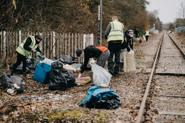 The team worked on Sunday to collect as much rubbish as possible from the area