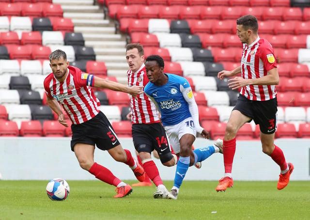 Siriki Dembele battles the Sunderland defence earlier in the season.  Joe Dent/JMP.