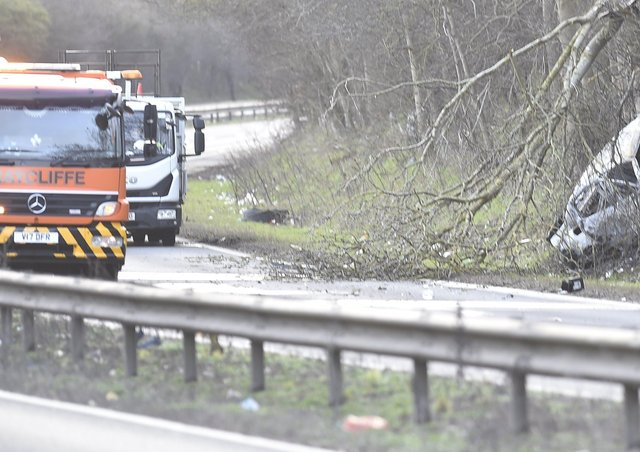 The scene of the accident on the northbound carriageway of the A1 between Wittering and Wothorpe.