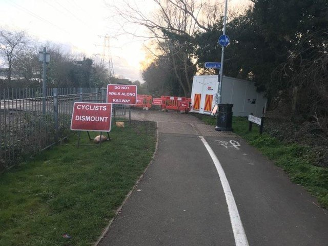 The path is closed at the Wharf Road crossing