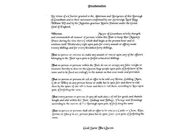 This is the Grantham version of the fair proclamation. The Stamford version is similar, substituting the town's name. EMN-210316-160731001
