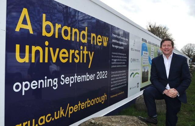 Professor Ross Renton, Principal of ARU Peterborough, at the site of the new university at Bishop's Road. EMN-211203-183203009