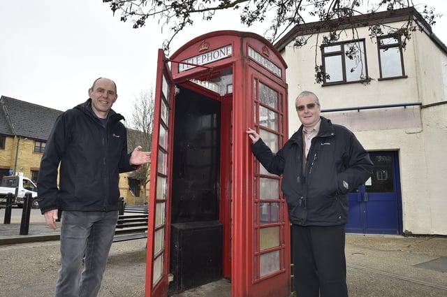 Phonebox at Stilton with parish councillors Mark Angus and   John Leonard EMN-210317-114902009