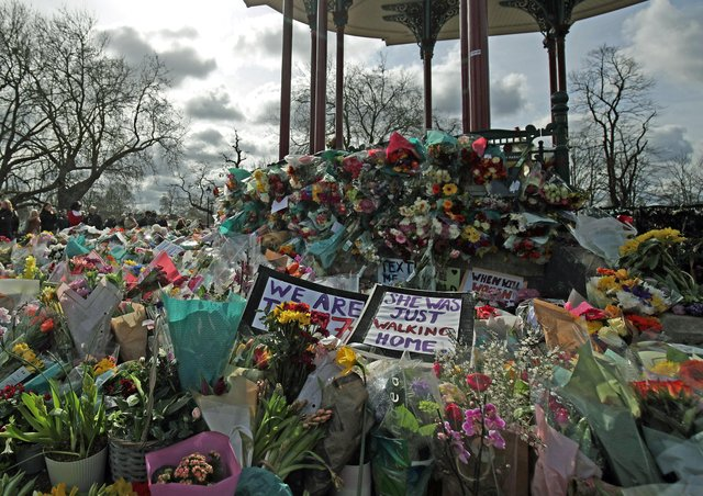 Floral tributes to Sarah Everard left at Clapham Common.