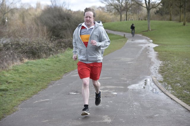 MP for Peterborough Paul Bristow doing ten 10k runs for Sue Ryder Care at Thorpe Hall. EMN-211103-140652009