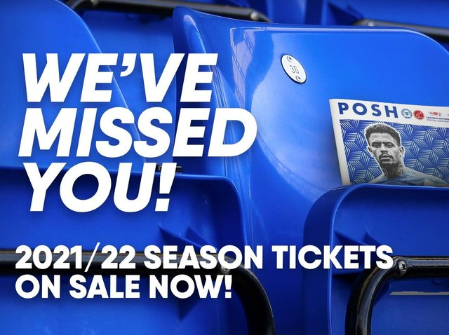 Posh season-tickets for the 2021/22 campaign have gone on sale today