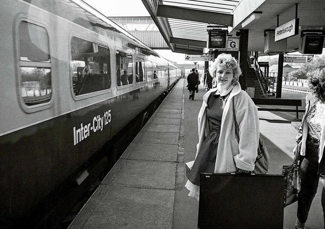 Do you know this woman with her art folder at Peterborough station?
