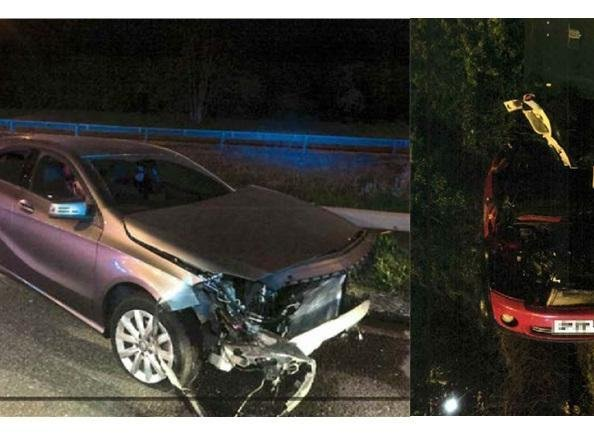 The two cars following the crash