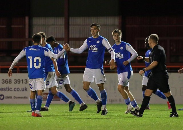 Posh celebrate a goal for captain Charlie O'Connell in the second round FA Youth Cup win at Altrincham.
