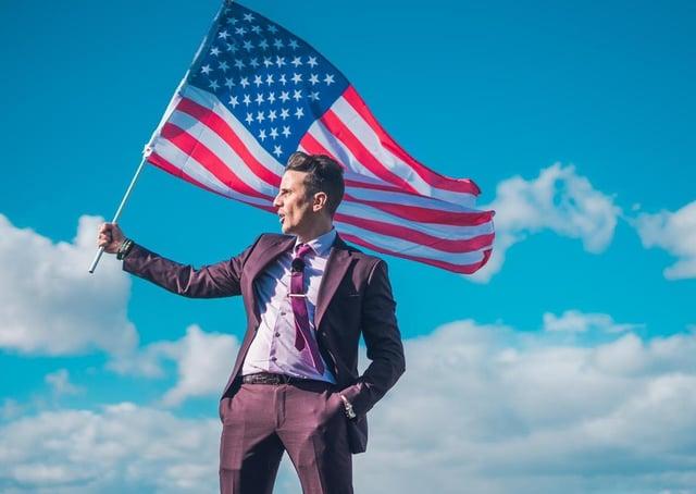 Joseph Valente flies the flag for the USA.
