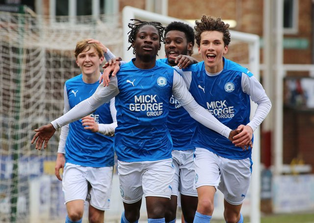Nicky Gyimah-Bio celebrates the winning goal for Posh against Doncaster in the FA Youth Cup. Photo: Joe Dent/theposh.com.
