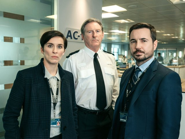 Line of Duty's three leading stars - Vicky McLure, who plays Kate Flemming, Adrian Dunbar, who plays Ted Hastings, and Martin Compston, who plays Steve Arnott.  Photographer: Aiden Monaghan PPP-190328-100027006