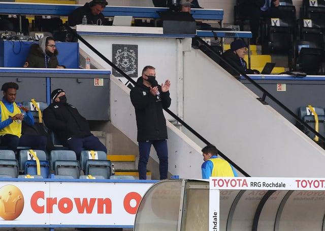 Posh boss Darren Ferguson in the stands at Rochdale. Photo: Joe Dent/theposh.com.