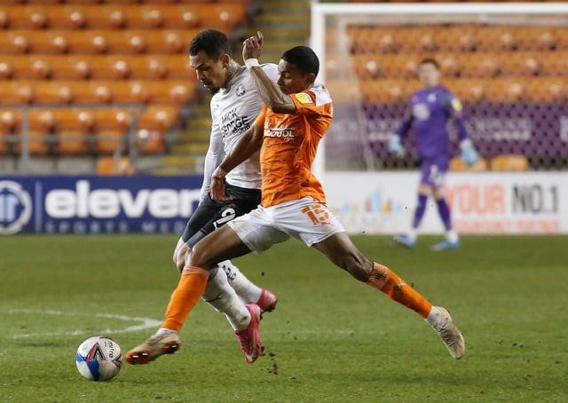 Jonson Clarke-Harris of Peterborough United battles with Demi Mitchell of Blackpool. Photo: Joe Dent/theposh.com.
