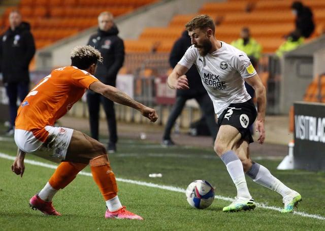 Dan Butler of Peterborough United takes on Jordan Lawrence-Gabriel of Blackpool. Photo: Joe Dent/theposh.com.