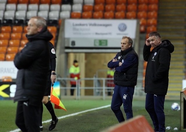 Peterborough United Manager Darren Ferguson watches on from the touchline against Blackpool. Photo: Joe Dent.theposh.com.