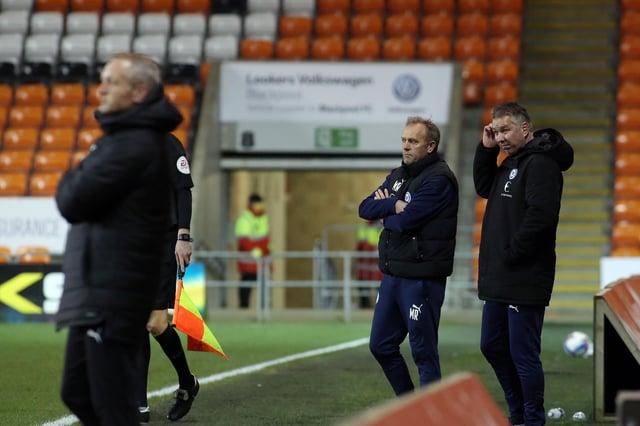 Peterborough United manager Darren Ferguson and his assistant Mark Robson at Blackpool. Photo: Joe Dent/theposh.com.
