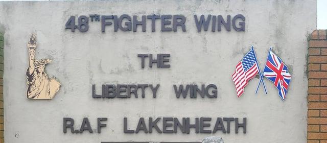 Entrance to RAF Lakenheath. ANL-160618-104129001