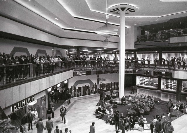 John Lewis in a packed Queensgate in the 1980s.