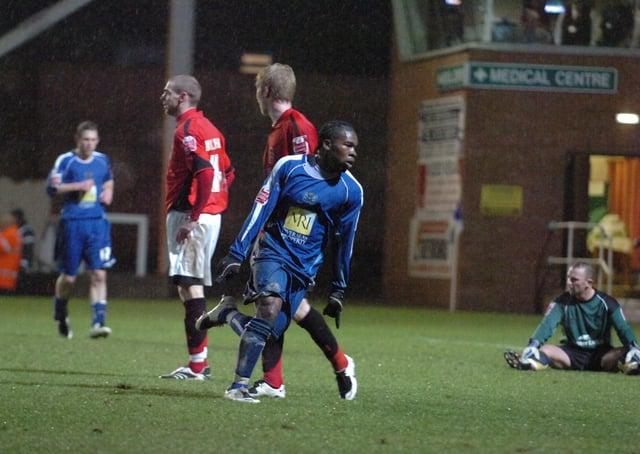 Aaron Mclean celebrates a Posh goal against Accrington.